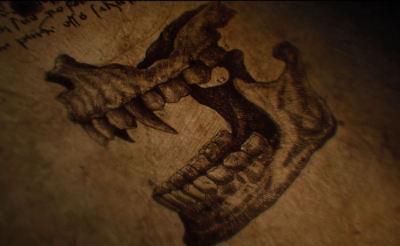 Gerahmter Druck - Vampir Kiefer Knochen ( Gotik Bild Plakat Mythologie Fantasie