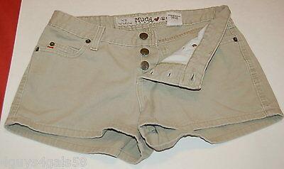 JR Womens Shorts MUDD 9 Button Fly LOW RISE Tan Denim Five Pocket (Five Pocket Low Rise Shorts)
