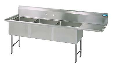 Bk Resources 62w 3 Compartment Sink W Ss Legs 15 Right Drainboard