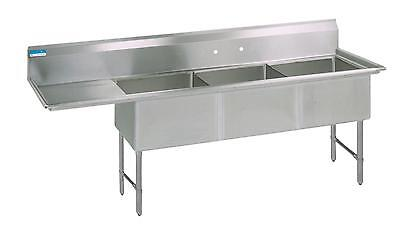 Bk Resources 68w 3 Compartment Sink W Ss Legs 18 Left Drainboard