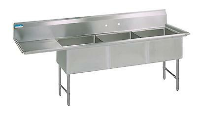 Bk Resources 62w 3 Compartment Sink W Ss Legs 15 Left Drainboard