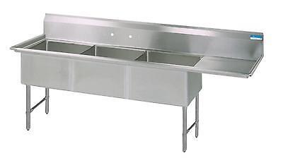 Bk Resources 3 18x24x14 Compartment Sink W 24 Right Drain Board
