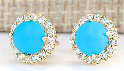 3.65CTW NATURAL BLUE TURQUOISE AND DIAMOND EARRINGS 14K SOLID YELLOW GOLD