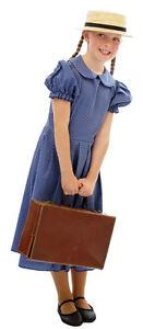 Edwardian-1940s-WW2-BLUE-POLKA-DOT-Fancy-Dress-Costume-Age-3-TEEN