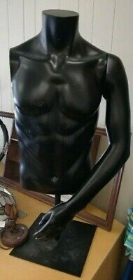 Male Black Body Torso Plastic Mannequin Swivel Hook