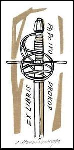 Hlinovsky Stanislav A2 Exlibris 1989 Bookplate Sword Epee s512 - <span itemprop='availableAtOrFrom'> Dabrowa, Polska</span> - Hlinovsky Stanislav A2 Exlibris 1989 Bookplate Sword Epee s512 -  Dabrowa, Polska