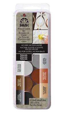 FolkArt Dry Brush STENCIL CREME Cream Paint Set 6/Pkg ~ NATURALS ()