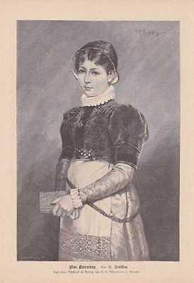 Am Sonntag Mädchen Kirchgang Tracht HOLZSTICH von 1888 (Stich Mädchen Kostüm)