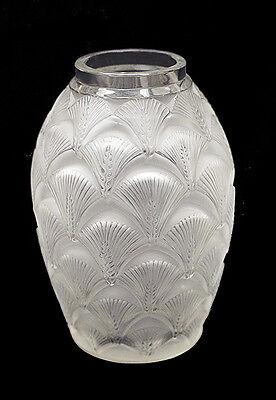 Rene Lalique France Signed Frosted Glass Vase Signed Artwork Crystal Antique SBO