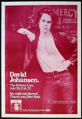 DAVID JOHANSEN NEW YORK DOLLS 1978 VINTAGE BOTTOM LINE NYC CONCERT POSTER