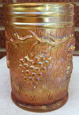 Antique Dugan Vineyard / Grape Marigold Carnival Glass Tumbler 3 3/4""