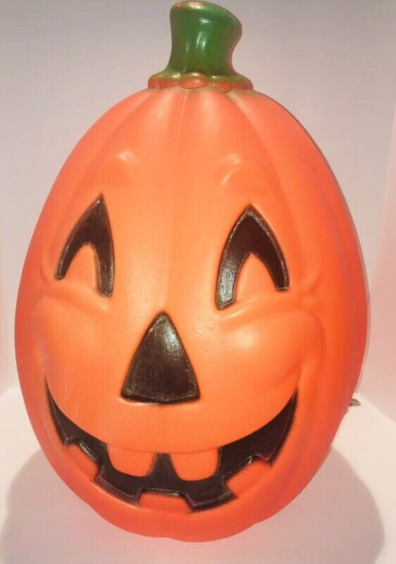 """Vintage Lighted Pumpkin 21"""" H x 14"""" W Blow Mold; Tested And Works"""