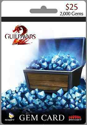 Guild Wars 2, Gems 2000 Card - PC  [QUICK Serial key ebay email delivery]