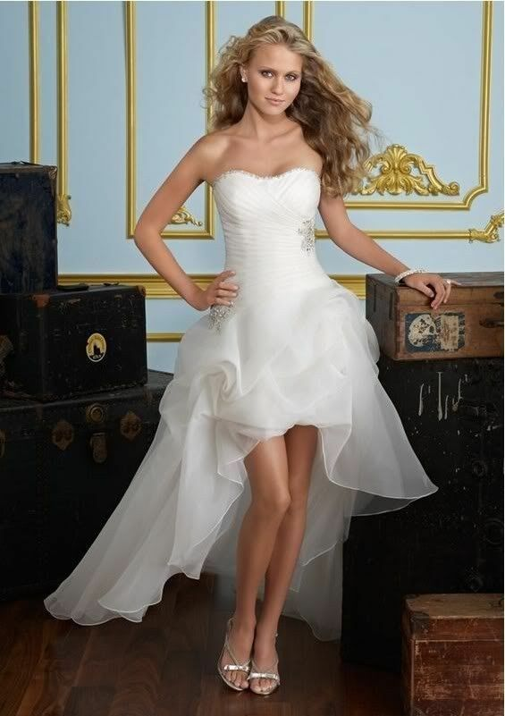 Neu Kurz Organze Hochzeitskleid Ballkleid Brautkleider Abendkleid Gr:32---42+++