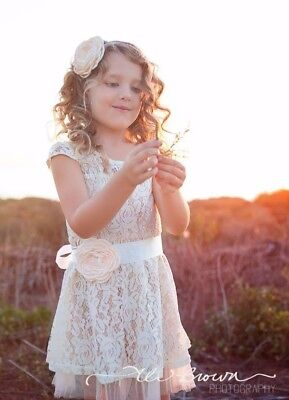 Rustic Lace Flower Girl Dress Country Baby Lace Flower girl Dress by Ellura Sage Sage Flower Girl