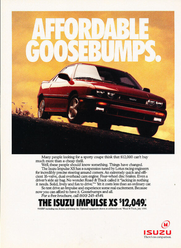 1990 1991 Isuzu Impulse - XS - Classic Vintage Advertisement Ad A97