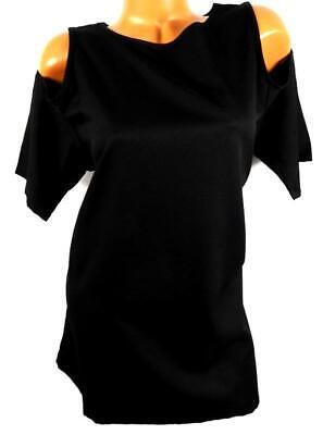 Vicabo Black Cold Shoulder Elbow Sleeve Scoop Neck Plus Size Tunic Top Xl