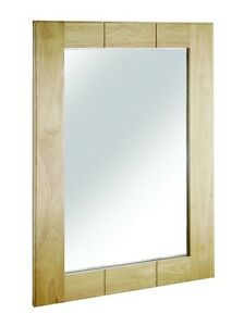 Bathroom Mirror Wooden Frame Wall Hanging Safety Back Glass Light Wood Maine