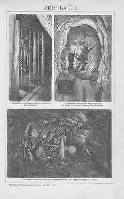 Mining Mine Clausthal Goslar Mine Wood Engraving from 1904 Horse Whin