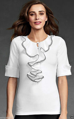- CAbi Tip Top Ruffled T-Shirt ~ White ~ Size Small ~Style # 191 NWT $79 Retail ==