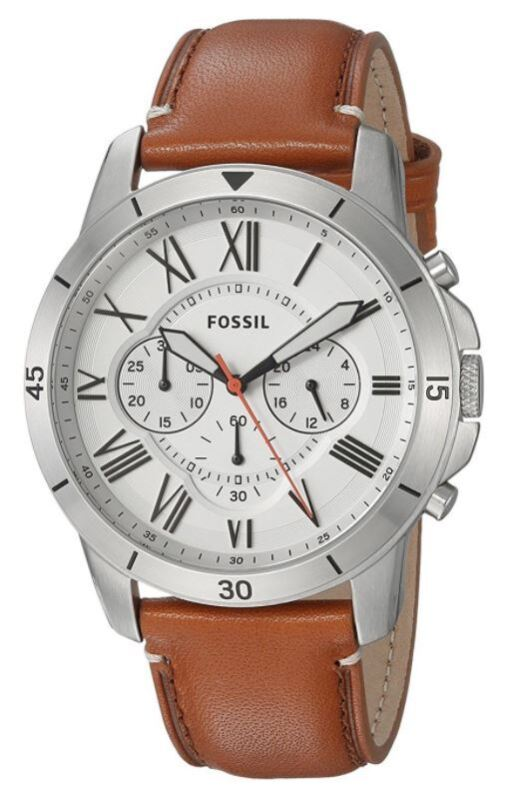 Fossil FS5343 Grant 44mm Chronograph Tan Leather Men's Leather Watch
