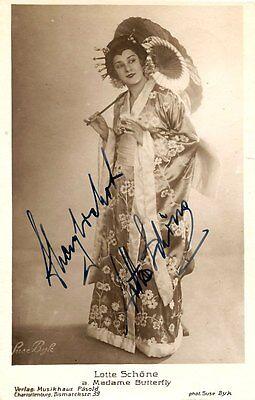 LOTTE SCHOENE opera soprano signed photo as Butterfly