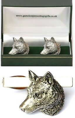 Wolf Head Cufflinks & Tie Clip Bar Slide Mens Gift Set Wild Dog Hunting Present