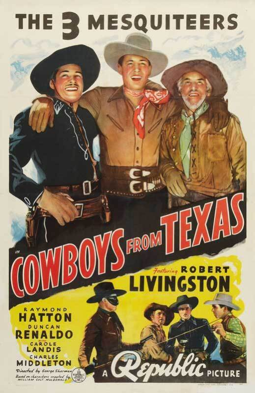 THE COWBOYS FROM TEXAS Movie POSTER 27x40 Robert Livingston Raymond Hatton