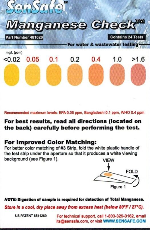 Manganese Test Strips for Well Water, 0.02 - 2.0 ppm, 24 Tests per Pack