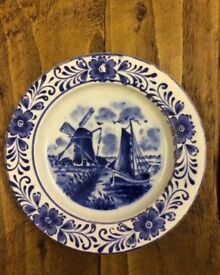 Royal Delfts Blauw blue & white windmill and boat scene plate. Roughly 4 1/2""