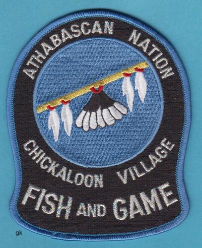 ATHABASCAN NATION ALASKA TRIBAL CHICKALOON V FISH GAME POLICE SHOULDER PATCH.