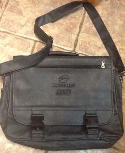 Crownline Volvo Pinta Black Leather Style Messenger Bag