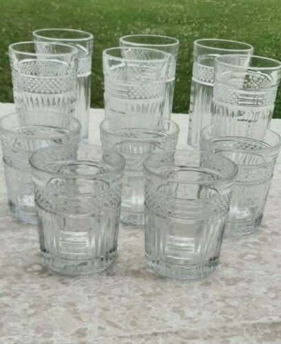 Vintage Crystal Cut Glasses Set Of 11 Old Fashioned Whiskey Highball Lowball  - $149.99