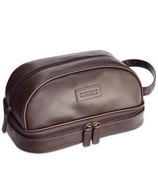 Men's Toiletry and Travel Kit Perry Ellis Portfolio Faux Pebble Leather Brown