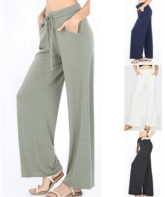 Women's Lounge Pants Long Wide Leg Soft Jersey Knit Palazzo Drawstring Loose -