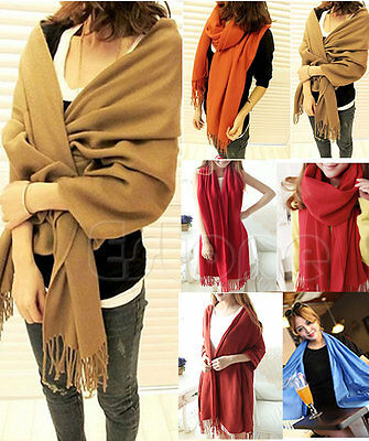 Scarf - New Women Wool Blend Long Warm Scarves Soft Wrap Scarf Tassels Winter Warm Shawl