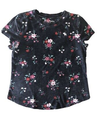 Abercrombie Kids Girls Shirt Top Size 7/8 Black/Gray Floral GOOD CONDITION