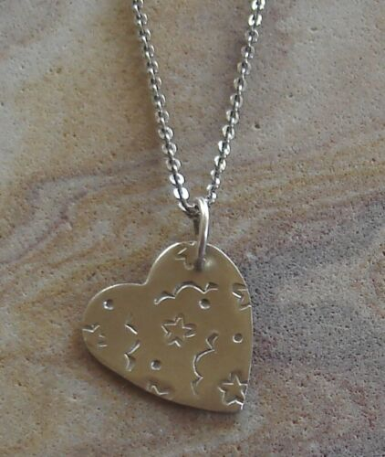 Rare Vintage Thomas Mann Nickel Heart Pendant Sterling Silver Chain Necklace