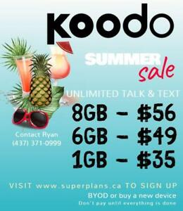 8GB $56/mo or 6GB $49/mo - Reduced Setup Fee - KOODO UNLIMITED CELL PHONE PLAN - Ryan SuperPlans 2/4/6/8/10/15GB