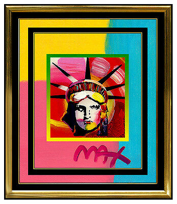 PETER MAX Original Signed PAINTING LIBERTY HEAD Pop ART Acrylic Oil STATUE OF