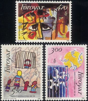 Faroes 1986 Amnesty International/Rights/Peace/Birds/Animation 3v set (n30265)