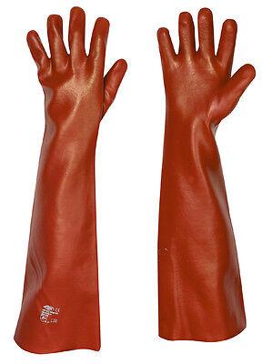 PVC Handschuhe 60 cm schulterlang, lange dicke Gummihandschuhe Teichhandschuhe