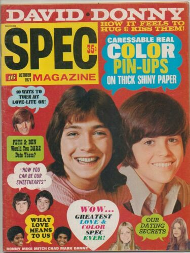 SPEC (16) MAGAZINE October 1971 DAVID CASSIDY Donny Osmond BOBBY SHERMAN Jackson