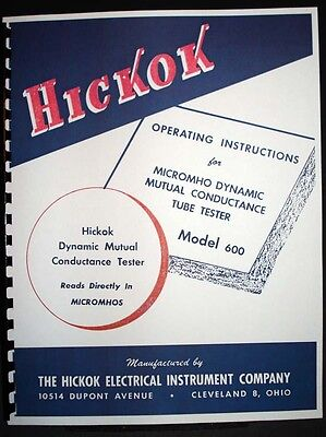 Hickok 600 Early Version Tube Tester Manual
