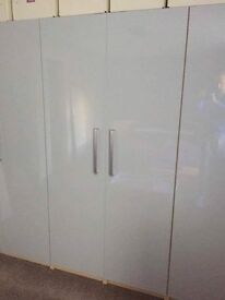Ikea Fardal high gloss grey doors with Tyda stainless steel handles fitted
