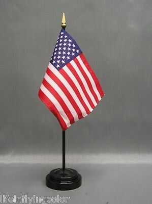 "USA 4X6"" TABLE TOP FLAG W/ BASE NEW DESK TOP HANDHELD STICK"