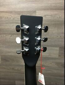 ACOUSTIC GUITAR BY ENCORE, MATT BLACK, WITH, GIG BAG TUNING PIPES STRAP, PLECTRUMS AND CD BRAND NEW