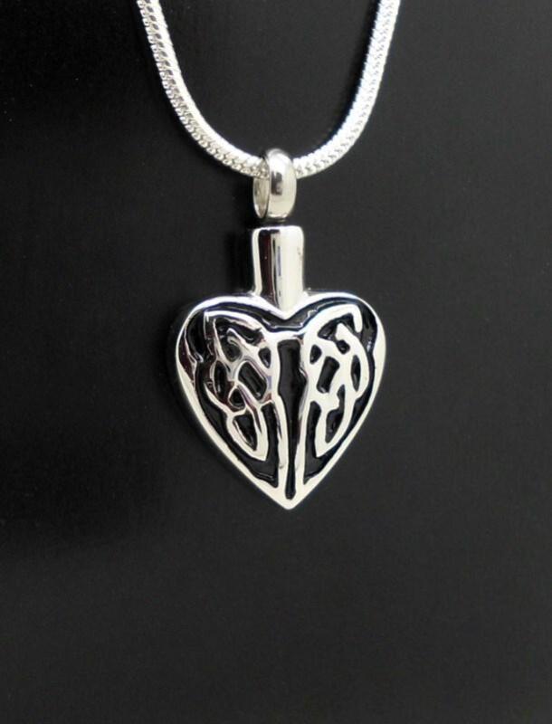 Silver & Black Celtic Heart Design Keepsake Cremation Memorial Urn Pendant NIB