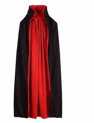 Devil Cape Costume (dracula devil 2 sided CAPE black red Vampire Halloween costume Adult teen)
