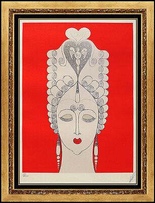 ERTE Rare Color Serigraph Amoureuse Costume Dress Design Art Deco Signed Artwork